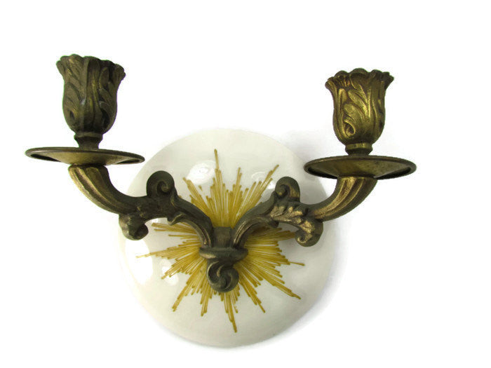 Vintage Porcelain And Brass Wall Sconce Candle Holder