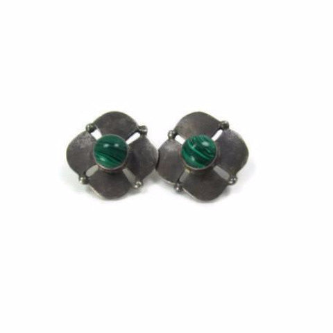 Vintage Silver and Green Malachite Pierced Earrings - Attic and Barn Treasures