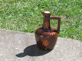 Vintage Glazed and Hand Painted Orange Sunflower Pottery Syrup Jug - Attic and Barn Treasures