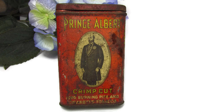 Vintage Prince Albert Crimp Cut Tobacco Tin - Attic and Barn Treasures