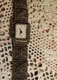 Vintage Silver Panel Link and Marcasite Watch - Attic and Barn Treasures