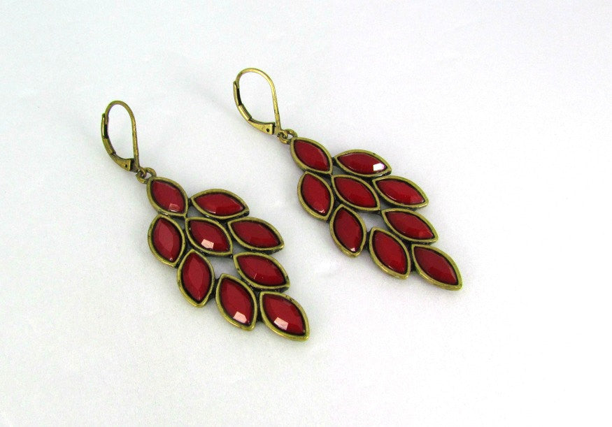 Red Leaf Design Pierced Earrings Dangle Vintage - Attic and Barn Treasures