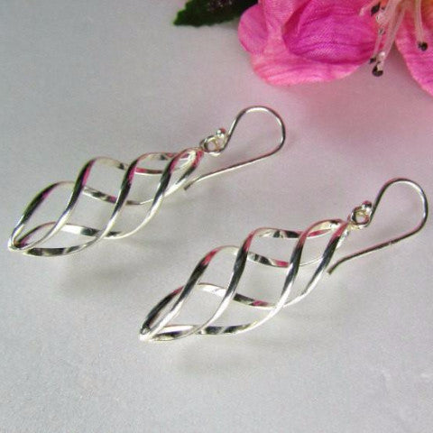 Vintage Silver Spiral Cage Look Pierced Earrings - Attic and Barn Treasures