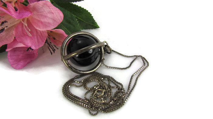 Vintage Caged Obsidian Orb Necklace with Silver Box Chain - Attic and Barn Treasures