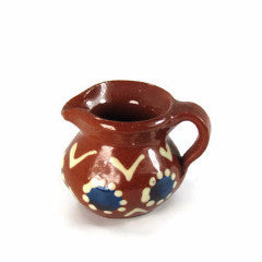 Miniature Vintage Red Clay Pitcher Hand Painted - Attic and Barn Treasures