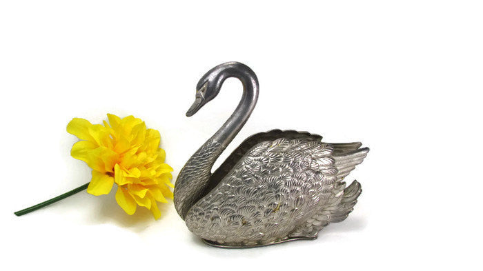 Elegant Vintage Metal Swan Napkin Card Mail Holder Metal - Attic and Barn Treasures