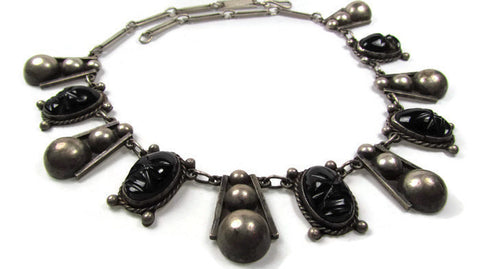 Vintage Sterling Silver and Obsidian Tribal Mask Mayan Necklace - Attic and Barn Treasures