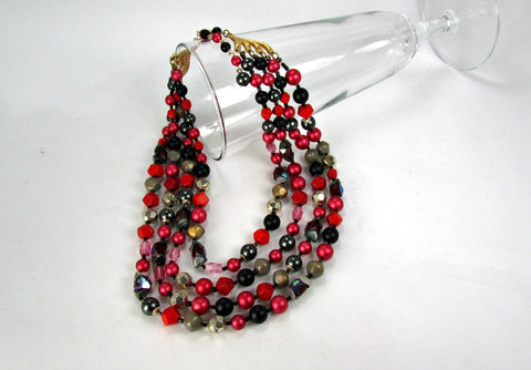 4 Strand Tara Necklace Black Pink Gray Red Bead Vintage - Attic and Barn Treasures