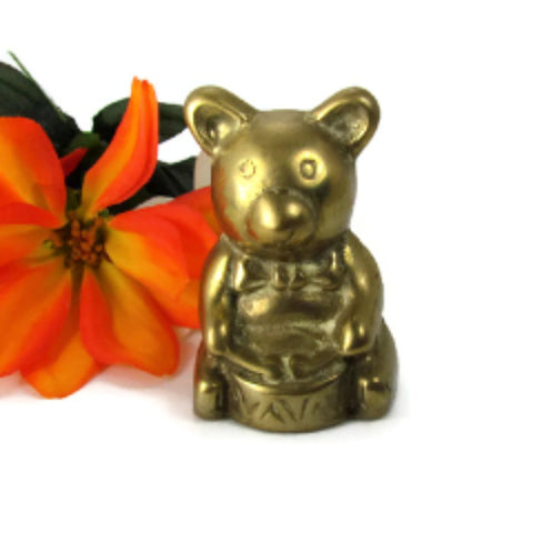 Vintage Brass Bear Playing Drum Little Drummer Bear - Attic and Barn Treasures