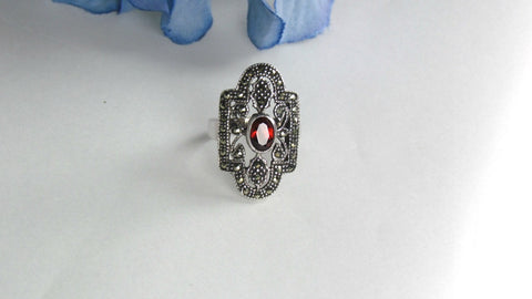 Vintage Sterling Silver Garnet and Marcasite Ring - Attic and Barn Treasures
