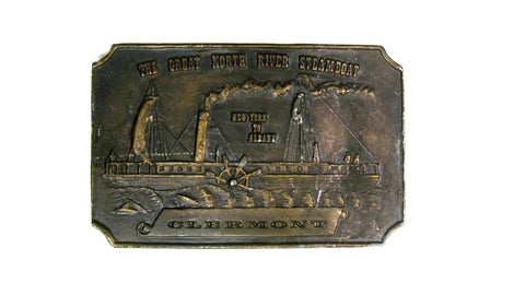 Clermont Steamboat Solid Brass Belt Buckle Vintage - Attic and Barn Treasures