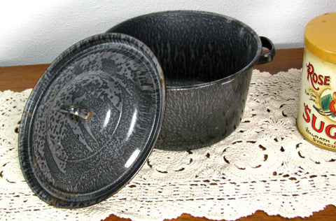 Graniteware Stock Pot With Lid Vintage - Attic and Barn Treasures