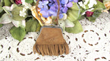 Brown Suede Leather Coin Change Purse Niagara Falls Souvenir Antique - Attic and Barn Treasures