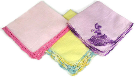 Colorful Vintage Linen Hankies Crochet Edging purple yellow pink - Attic and Barn Treasures