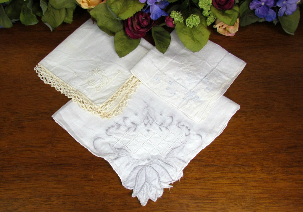 Vintage White Embroidery Pastel Accent Handkerchiefs - Attic and Barn Treasures