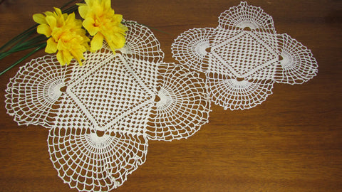 White Square Lace Doilies Set of 2 Vintage Square Fan Design - Attic and Barn Treasures
