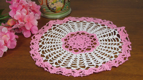 Pink and White Candy Dish Doily Vintage - Attic and Barn Treasures