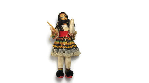Greek Doll Spinning Wool National Costume Doll Vintage Display - Attic and Barn Treasures