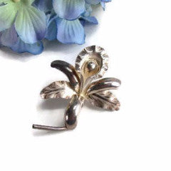 Vintage Sterling Silver Orchid Flower Brooch - Attic and Barn Treasures
