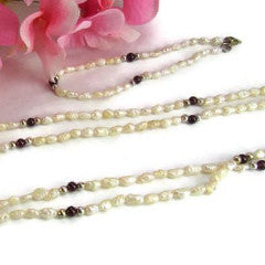 Freshwater Pearl and Garnet Vintage Necklace and Bracelet Set - Attic and Barn Treasures