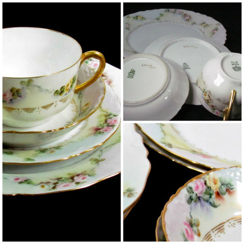 H and Co Selb Bavaria 4 Piece Place Settings (2) Hand Painted and Signed - Attic and Barn Treasures