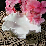 Fenton Hobnail Ruffle Edge Milk Glass Bowl Vintage - Attic and Barn Treasures