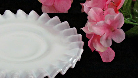 Fenton Hobnail Fluted Ribbon Edge Pedestal Saucer Vintage - Attic and Barn Treasures
