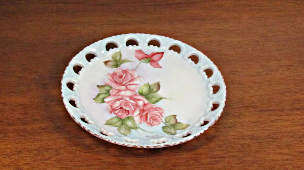 Hand Painted and Signed Vintage Pierced Edge Porcelain Plate Pink Roses - Attic and Barn Treasures