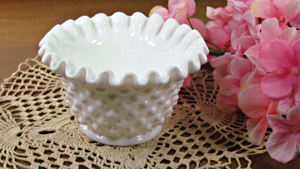 Vintage Fenton Milk Glass Hobnail Pie Crust Crimp Edge Bowl - Attic and Barn Treasures