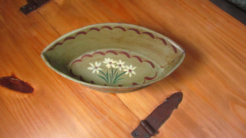 Oval Toleware Tole Painted Metal Container Caddy Vintage Sage Green - Attic and Barn Treasures