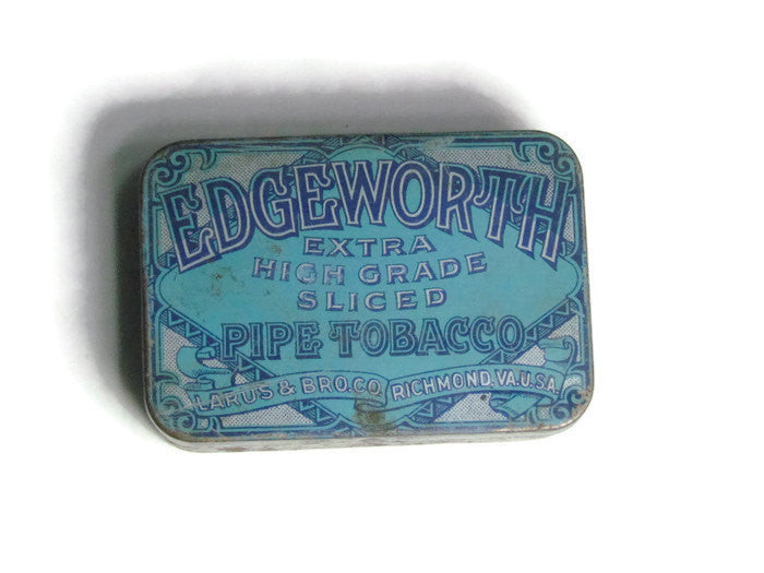 SOLD Vintage Edgeworth Extra High Grade Sliced Pipe Tobacco Tin with striker - Attic and Barn Treasures