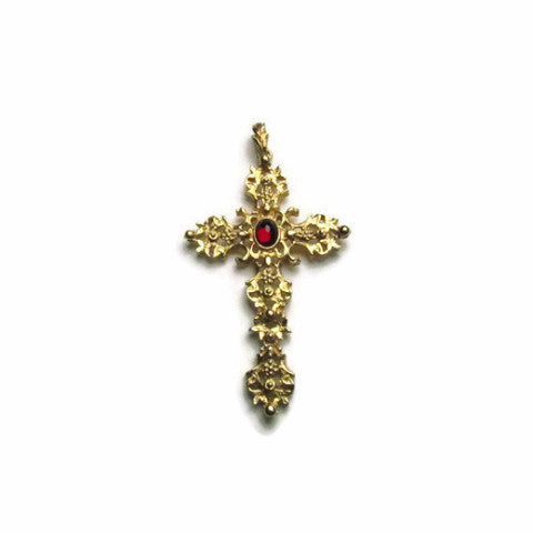1970s Vintage Avon Gold Tone Cross Pendant with Simulated Ruby - Attic and Barn Treasures