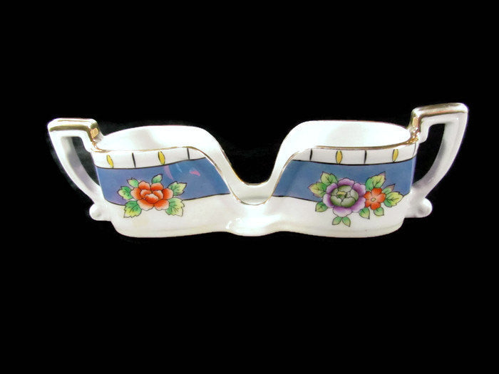 Noritake Lusterware Red M Spooner Spoon Holder Caddy Art Deco - Attic and Barn Treasures