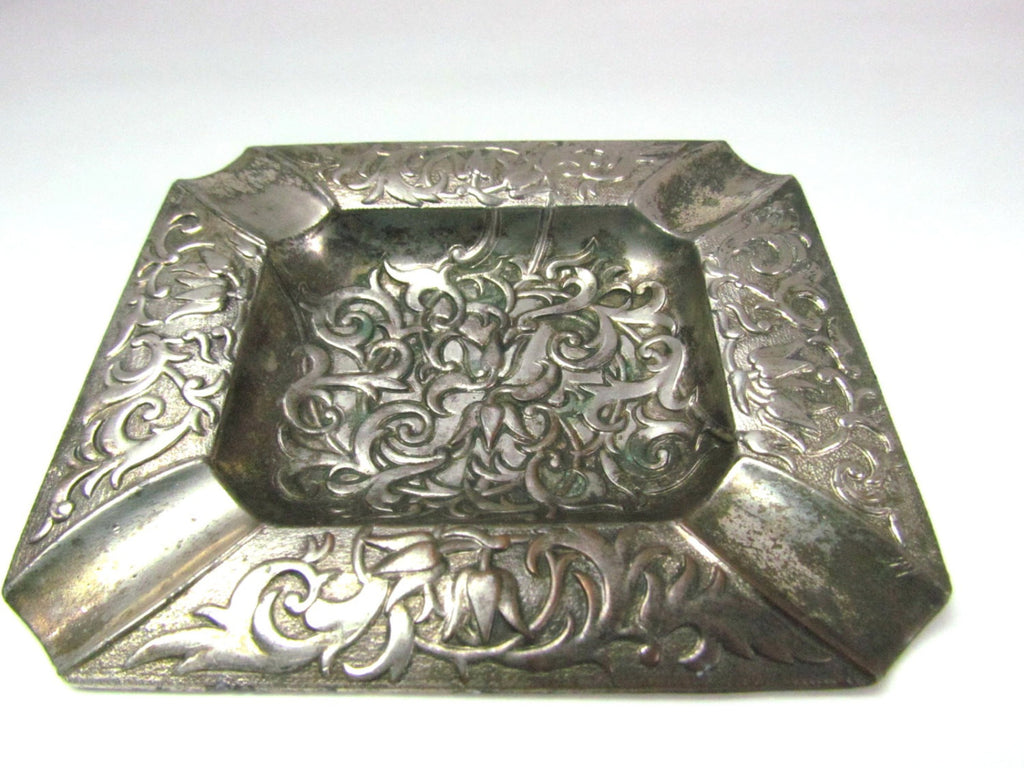 Vintage Occupied Japan Silver Metal Ashtray - Attic and Barn Treasures