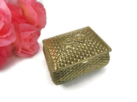 Gold Tone Vintage Basket Weave Design Metal Jewelry Box Casket - Attic and Barn Treasures
