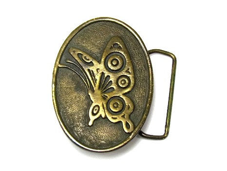 Vintage Adezy Brass Butterfly Design Belt Buckle - Attic and Barn Treasures