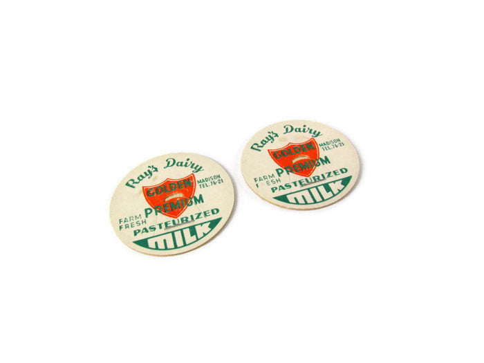 Vintage Ray's Dairy Golden Premium Fiber Milk Bottle Caps - Attic and Barn Treasures