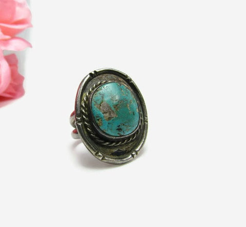Old Pawn Silver and Turquoise Ring Size 8 - 1/2 - Attic and Barn Treasures