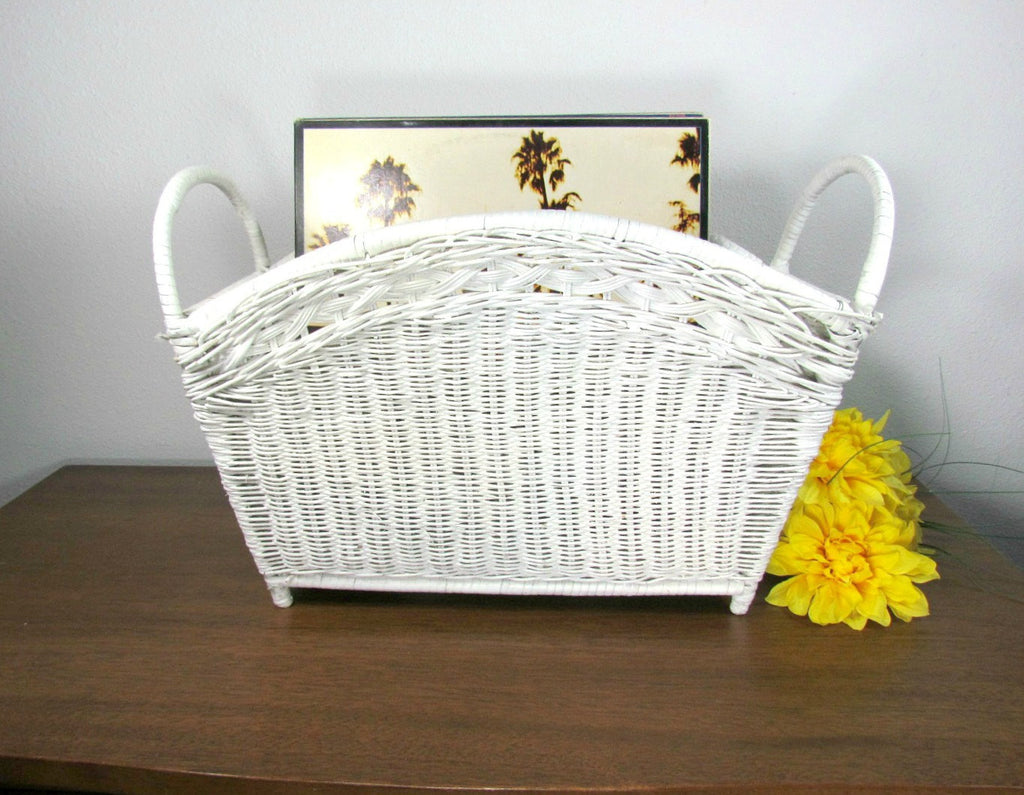Vintage White Wicker Magazine or Record Holder - Attic and Barn Treasures