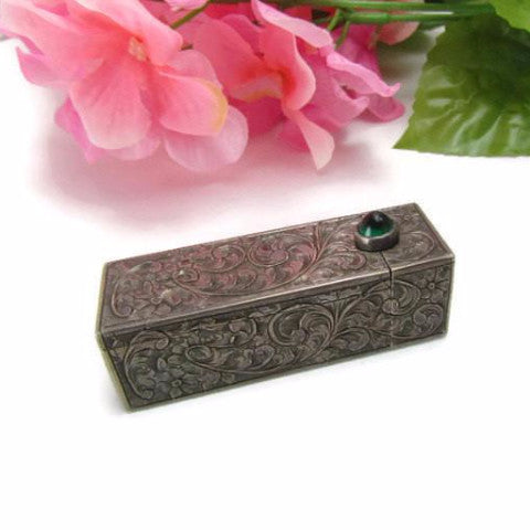 Vintage 800 Silver Lipstick Case with Emerald Green Stone - Attic and Barn Treasures