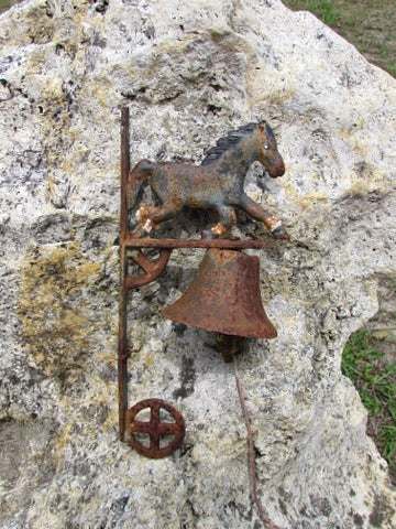 SOLD Rustic Post Mount Bell with Trotting Horse - Attic and Barn Treasures