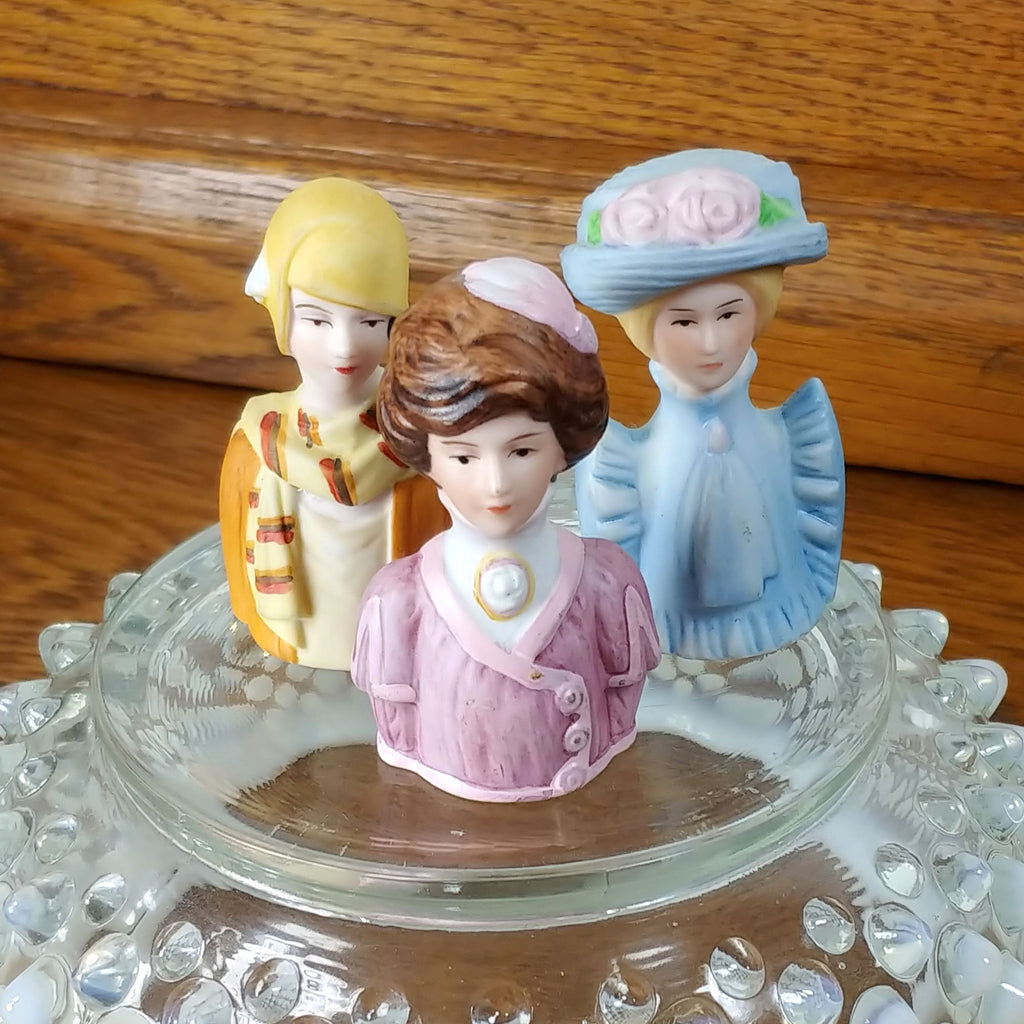 Vintage Avon Lady Bust Thimbles Set of Three - Attic and Barn Treasures