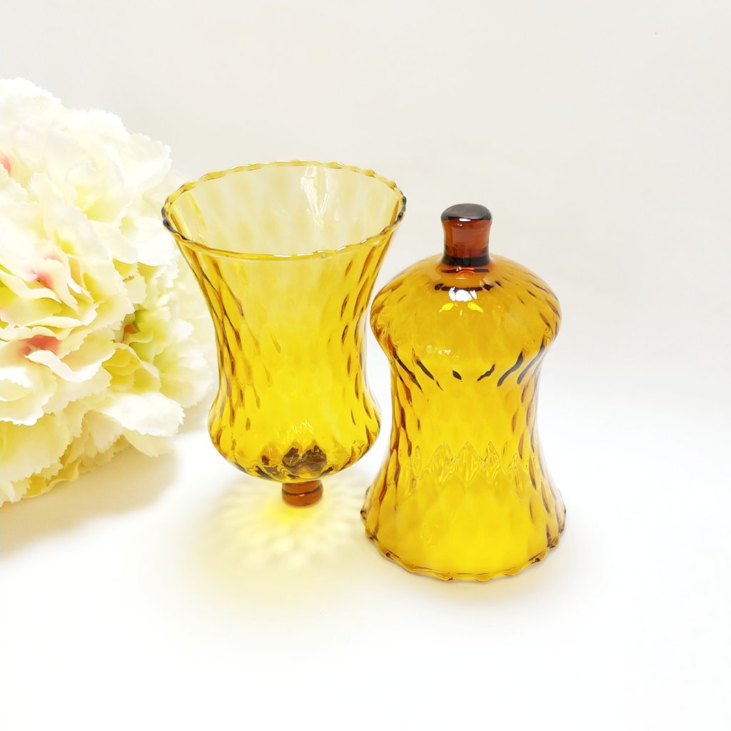 Large Vintage Amber Glass Peg Candle Holder Cup for Wall Sconce - Attic and Barn Treasures