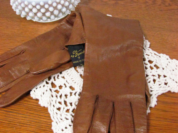 Vintage Brown Kid Leather Gloves Made in Italy - Attic and Barn Treasures