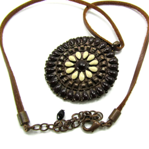 Leather and Copper Vintage Necklace Hippie Boho Gypsy - Attic and Barn Treasures