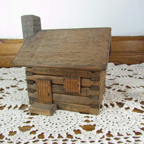 Vintage Handcrafted Miniature Log Cabin Music Box plays my old Kentucky home - Attic and Barn Treasures