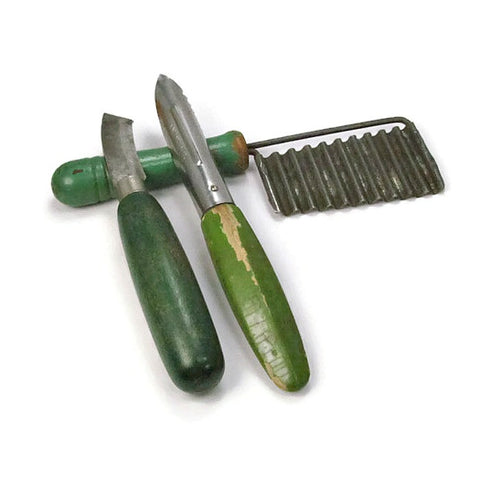 Vintage Green Handle Kitchen Gadgets for Cheese and Fruit - Attic and Barn Treasures