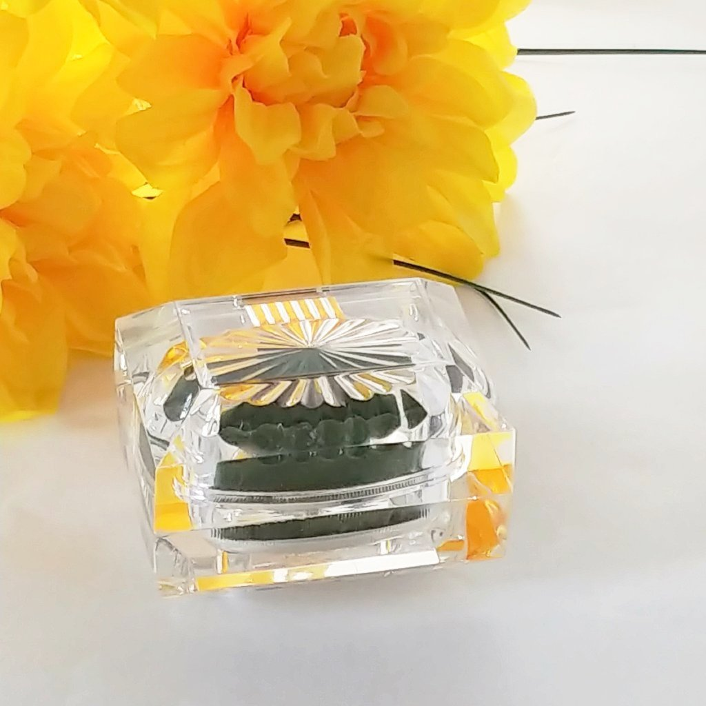 Gorgeous Vintage Lucite Ring Presentation Box with Green Velvet - Attic and Barn Treasures