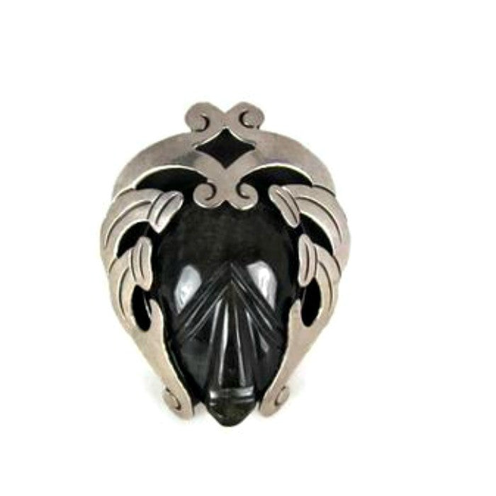 Vintage Brooch Silver and Carved Black Obsidian Tribal Mayan Mask - Attic and Barn Treasures