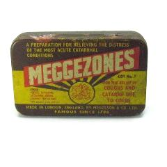 Vintage Meggezones Cough Lozenge Metal Tin - Attic and Barn Treasures